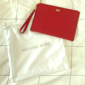 NWOT Michael Kors red clutch